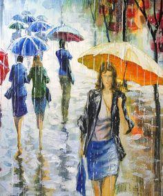Painting rain Stanislav Sidorov - Beauty will save Rain Painting, Woman Painting, Rainy Morning, Rainy Days, Rain Art, Going To Rain, Walking In The Rain, Under My Umbrella, Art Walk