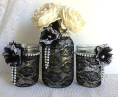 black lace mason jars - black and white lace covered mason jars - wedding decor - bridal shower decor- home decor - gift or for you on Etsy, #living room design