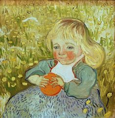 1890 Vincent Van Gogh Child Sitting in the Grass with an Orange or a Ball Oil on canvas cm Collection Particulière Vincent Van Gogh, Dutch Artists, Famous Artists, Winterthur, Canvas Art Prints, Oil On Canvas, Van Gogh Portraits, Van Gogh Landscapes, Background Drawing