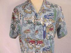 Vintage HAWAIIAN KINE DESIGNS Mens Surf Woody Multi-color Shirt Large Cotton  #HawaiianKineDesigns #Hawaiian