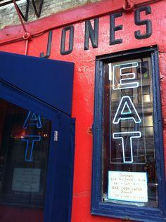 Great Jones Cafe. 54 Great Jones Street NoHo. Soul food: hamburgers + fries. Try the jalapeño cornbread!!