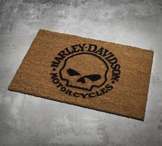 The open road can get you dirty. Kick off your dusty boots on the Skull Door Mat. | Harley-Davidson Skull Door Mat