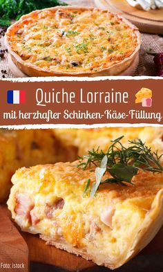 Quiche Lorraine with hearty ham and cheese filling - Keto Snacks Ideas Quiche Recipes, Tart Recipes, Healthy Dessert Recipes, Greek Recipes, Casserole Recipes, Gourmet Recipes, Cooking Recipes, Keto Snacks, Mini Quiche Lorraine