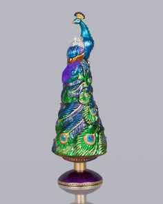 Jay Strongwater Grand Peacock Christmas Tree Topper - Neiman Marcus