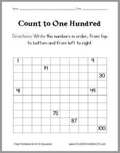 Count and Write Numerals to 100 - Worksheet is free to print (PDF file).