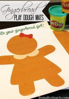 Printable Gingerbread Play Dough Mats via Gingerbread Man Activities, Gingerbread Crafts, Christmas Gingerbread, Christmas Activities, Christmas Themes, Gingerbread Men, Winter Activities, Morning Activities, Gingerbread Cookies