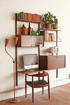 étagère murale en bois, coin de travail, bureau domicile, etagere en bois, plante verte