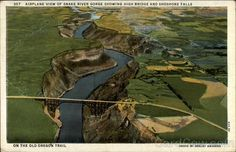 Airplane View of Snake River Gorge Showing High Bridge and Shoshone Falls Twin Falls Idaho