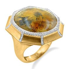 Rutilated Quartz and Diamond Cocktail Ring Custom Made Engagement Rings, Bastilla, Rutilated Quartz, Gold Texture, Cocktail Rings, Wedding Bands, Fine Jewelry, Diamond, Custom Engagement Rings