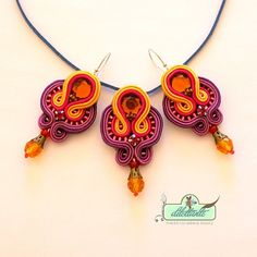 Soutache Pendant Soutache necklaceSwarovski by DILETTANTEsoutache