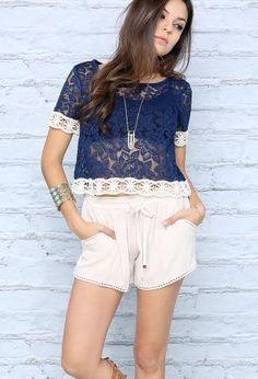 Crochet Hem Drawstring Shorts | Shop Bottoms at Papaya Clothing