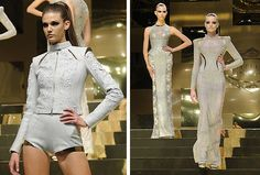 Versace Silver lace gowns at Couture Week