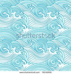 Japanese seamless waves pattern in ocean colors - stock vector