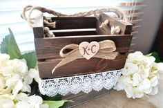 Personalized Rustic Woodland Wooden Flower Girl Basket Box, Burlap Bow, Lace, Wooden Heart, Initials