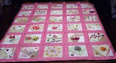 Handmade quilt, pink, crazy quilt