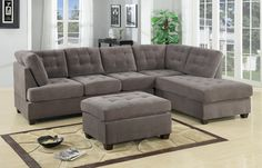 Poundex Charcoal Grey Modern Sectional Couch 3 Pc Living room Set Sofa with Reversible Chaise Sectional Sofa With Chaise, Leather Sectional, Fabric Sectional, Charcoal Sectional, Modern Sectional, Ottoman Sofa, Blue Ottoman, Sectional Furniture, Sleeper Sectional