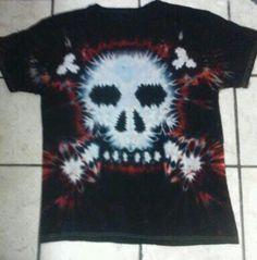 Red black skull and crossbones tie dye t shirt. Black Skulls, Tie Dye T Shirts, Skull And Crossbones, Tye Dye, Red Black, Mens Tops, Crafts, Fashion, Manualidades