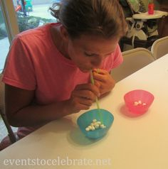 Minute to Win It - transfer marshmallows with a straw