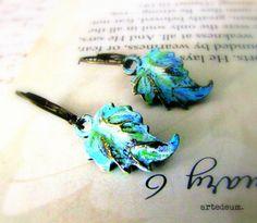 Leaf Earrings Verdigris earrings Blue Vintage by WhiteTeapot, $20.00