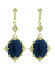 Judith Ripka 18KT Yellow Gold Starlight Collection Indian Sapphire Drop Earrings with Diamond. Available at London Jewelers.