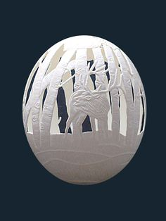 """""""Meadows Edge"""", Ostrich egg, carved by Tamara Seevers"""
