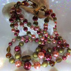 Japan Vintage Jewelry Three Strand Bead Necklace by DLSpecialties
