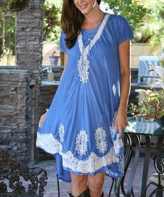 Loving this Light Blue Tie-Dye Lace-Up Shift Dress on #zulily! #zulilyfinds