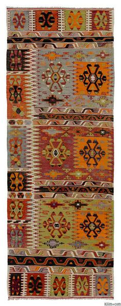 Vintage Cal Kilim Runner Origin: Anatolia - Denizli Weaving:Kilims Width:3'1'' (95 cm) Length:8'10'' (270 cm) Weight:8.0 lbs (3.5 kg) Weft:Wool Warp:Cotton ID:K0006222 Price:$850.00 (approx. €623)