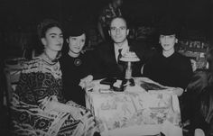 Left to right: Frida Kahlo, Arlette Seligmann, Kurt Seligmann, and an unidentified person, in Mexico, 1943.