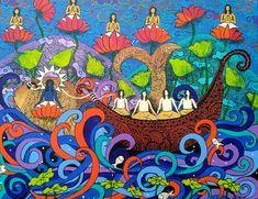 ' Lord Vishnu in MATSYA (FISH) avatar saves the Earth from a deluge. ' - Painted by Artist Arti Vohra Lord Vishnu, Krishna, Mythology, Avatar, Contemporary Art, God, Type, Artist, Painting
