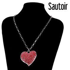 #collier #pendentif #coeur #strass #rouge ou #rose (14.90€ au lieu de 22.50€) #bijoux #pas_cher