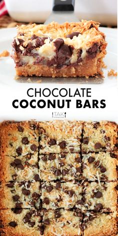Chocolate Coconut Bars made with sweetened condensed milk and a buttery graham cracker crustare an easy dessert recipe perfect for feeding a crowd or curing any sweet tooth cravings! Bonus alert! These bar cookies come together in lessthan 10 minutes of prep time! Coconut Milk Recipes, Coconut Desserts, Easy Desserts, Brownie Desserts, Cheesecake Desserts, Raspberry Cheesecake, Condensed Milk Desserts, Recipes With Condensed Milk, Sweets Recipes