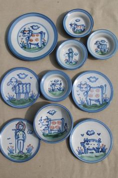 M A Hadley Louisville stoneware hand-painted farm animals pottery plates & bowls