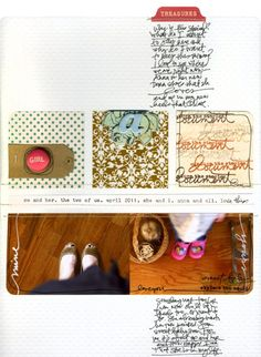 ali edwards: white and cream, stamped square, journaling under file tab