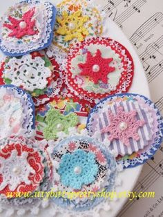 Crochet and fabric pretties-  Picture only