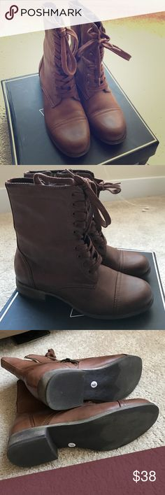 Brown boots Worn once this boots are perfect for a long walk. Very comfortable! They go with jeans, shorts and leggings. Brown and very stylish MIA Shoes Combat & Moto Boots