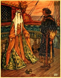 Maurice Lalau ~ The Romance of Tristram and Iseult ~ 1909 / Translated from the French by Florence Simmonds  / London: William Heinemann, c1910 / At this moment Bragwaine entered, and saw how they gazed at each other in silence, ravished and amazed.