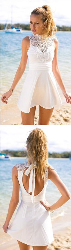 A-Line Jewel Sleeveless Short Open Back White Stretch Satin Homecoming Dress