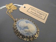 Vintage 1970's Resin Cameo Pendant on Chain by WhiteMagpieJewellery on Etsy, £10.00