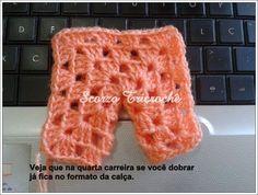 Boa noite!!! Ao entrar no facebook pela manhã uma amiga postou no grupo Meus Tricôs e Meus Crochês uma calça feita com um único square!!!...
