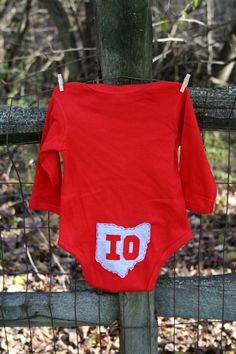 Red Onesie with OH front, IO back (on tush), State of Ohio, unique baby gift. $32.00, via Etsy.