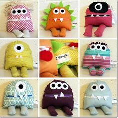 idea paua juguetes en fiesta de monstruos. monster tutorial.  DIY sewing. Crafts for kids.