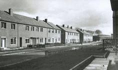 New terraced cottages built by Glasgow Corporation Housing Department at Glenlora Drive, Priesthill, in 1948.