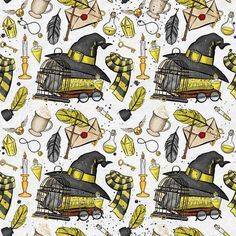 Fabric by the Yard Cotton Fabric Quilting Fabric by TheFabricFeen Harry Potter Stoff, Harry Potter Kawaii, Harry Potter Fabric, Arte Do Harry Potter, Theme Harry Potter, Harry Potter Drawings, Harry Potter Pictures, Harry Potter Tumblr, Harry Potter Facts