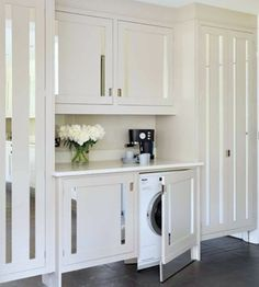 Laundry room, Macassar kitchen collection by Smallbone of Devizes Laundry Room Doors, Small Laundry Rooms, Laundry Closet, Laundry Room Organization, Laundry Room Design, Compact Laundry, Laundry Nook, Laundry In Kitchen, Concealed Laundry