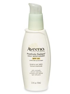 30 Best Drugstore Cosmetics Under $25  Our guide to the best cheap beauty products, from 99 cent lipstick on up.   by Good Housekeeping   #26. Aveeno Positively Radiant Daily Moisturizer with SPF 30 ($14)