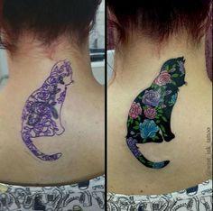 Flower cat tattoo