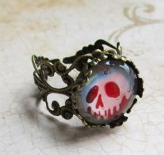 Snow White poison apple apple ring Evil Queen by JaybeePepper, $18.00