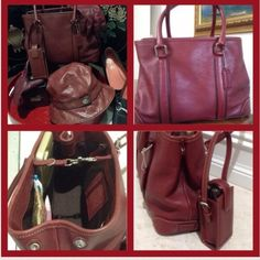 """Make offer$200-COACH Bag, Hat, Pouch W/FREE Gloves COACH handbag N°F3S-758611 Red w/Brown Trim, Silver Hardware, CLEAN main inside. Feet on bottom. Zip pocket 6"""" W x 4"""" Deep, Pen slip Pocket in the middle of 2 slip pockets; 3.5"""" W x 4"""" Deep & 4.5"""" W x 4"""" Deep ( more rounded pocket ) Snap sides, Key ring attachment, Lobster Claw closure at top, 5"""" L x 4"""" W x 8""""H W/ 6"""" handle drop. Attachable pouch: 2"""" L x 1"""" W x 4"""" H. I use it to hold LipGloss. Matching Hat size P/S w/approx 23.5""""…"""