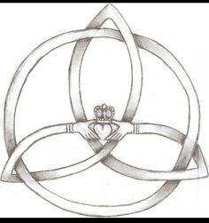 Tattoo I designed. Its a claddagh inside of a trinity knot.